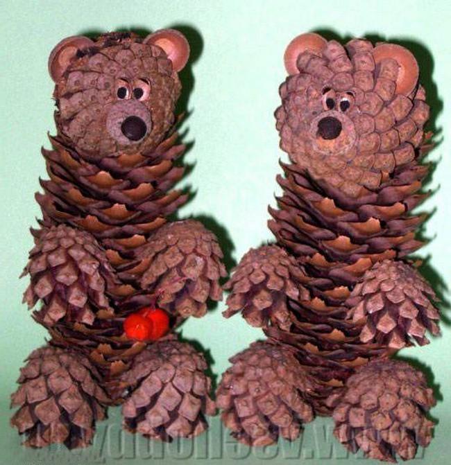 мишки из шишек с фото инструкцией