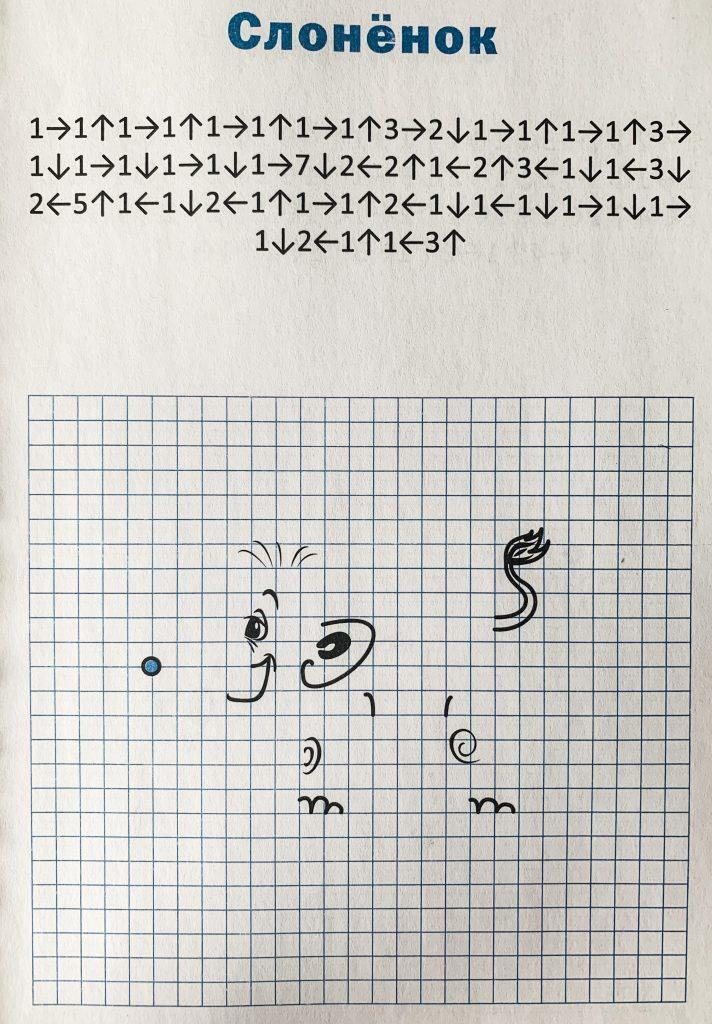 Слоненок нарисуй по клеточкам