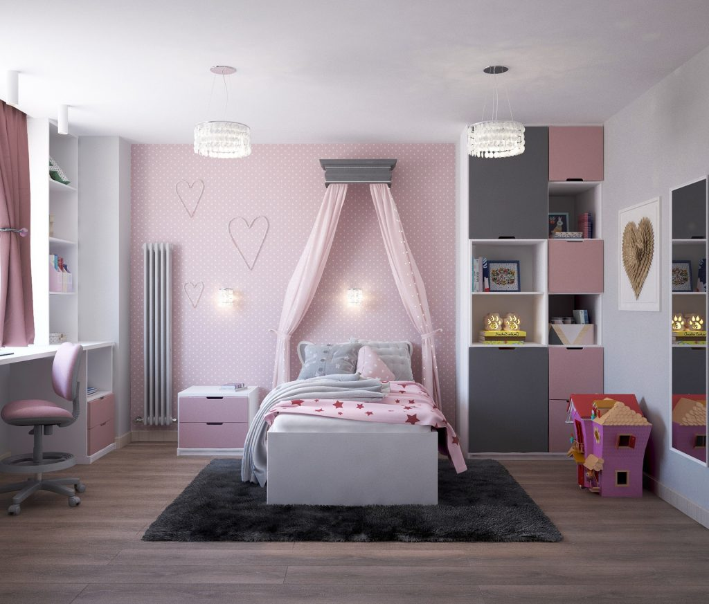 спальня для девочки серый