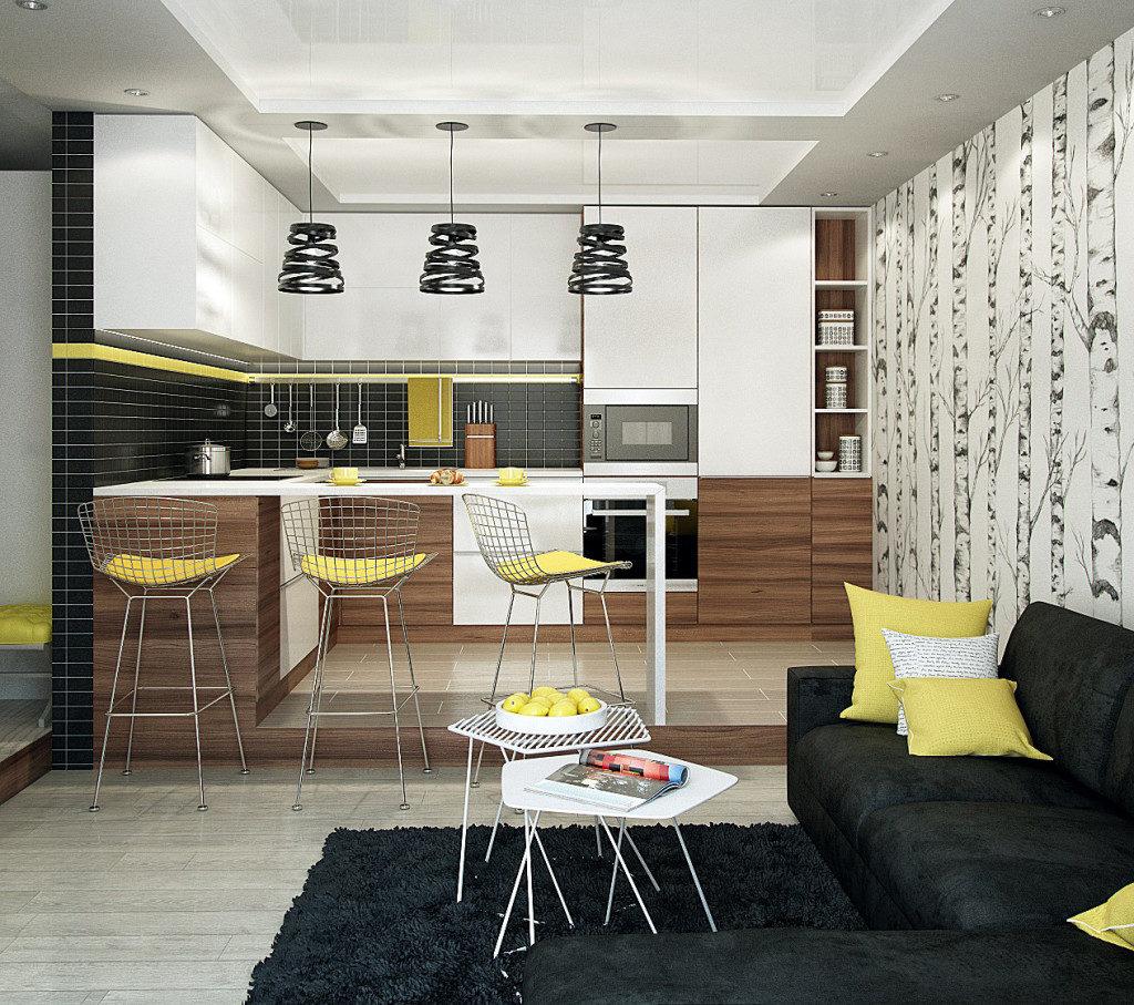 кухня черный и желтый